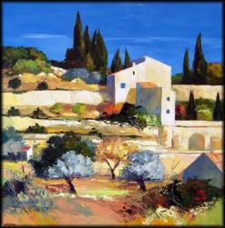 Gordes (80 x 80) - Peinture contemporaine figurative - Creuse
