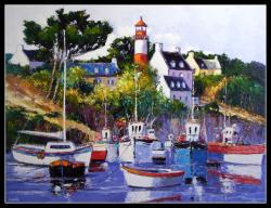 Le port de Doelan (116 x 89)  - Peinture contemporaine figurative - Creuse