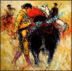 Corrida (100 x 100) - Peinture contemporaine figurative - Creuse