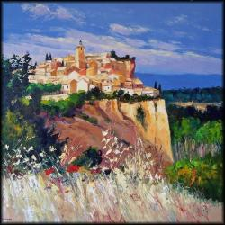 Roussillon (100 x 100) - Peinture contemporaine figurative - Creuse