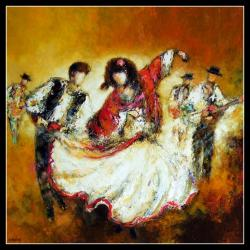 Flamenco (80 x 80) - Peinture contemporaine figurative - Creuse